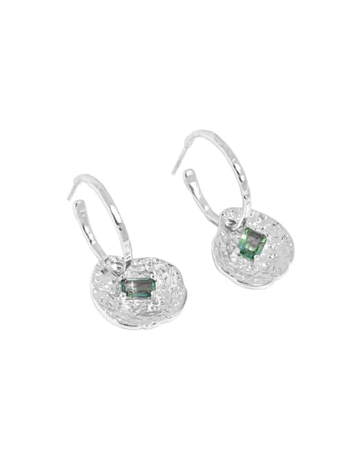Silver [with pure Tremella plug] 925 Sterling Silver Cubic Zirconia Geometric Vintage Huggie Earring
